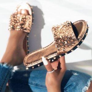 NEW🔥 Rose Gold Open Toe Studded Slide Flat Sandal